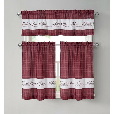 Kate Aurora Country Living Gingham Check Hope Faith Love 3 Pc Cafe Kitchen Curtain Set
