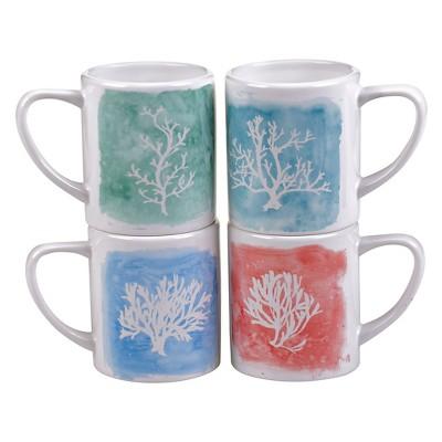 Certified International Water Coral Set of 4 Mug 16 oz. Assorted