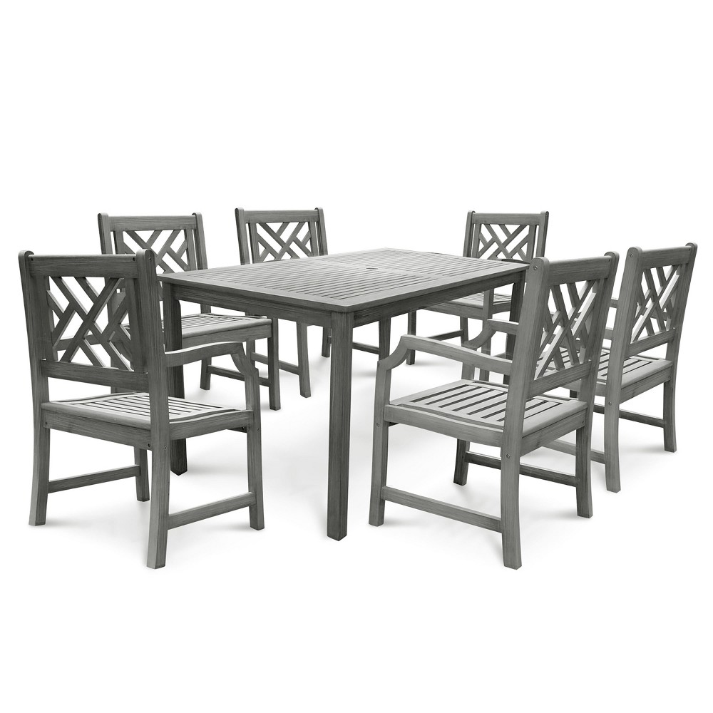 Renaissance 7pc Rectangle Wood Patio Dining Set - Gray - Vifah