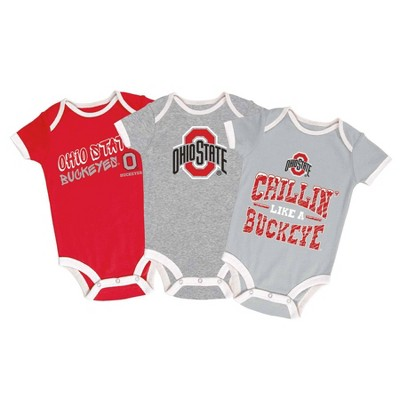 NCAA Ohio State Buckeyes Baby Boys' Short Sleeve 3pk Bodysuit Set