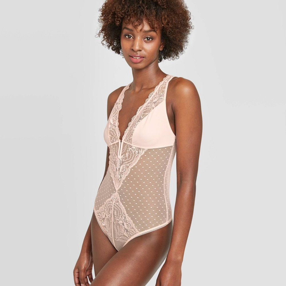 Image of Women's Unlined Plunge Bodysuit - Auden Lovable Pink S, Women's, Size: Small