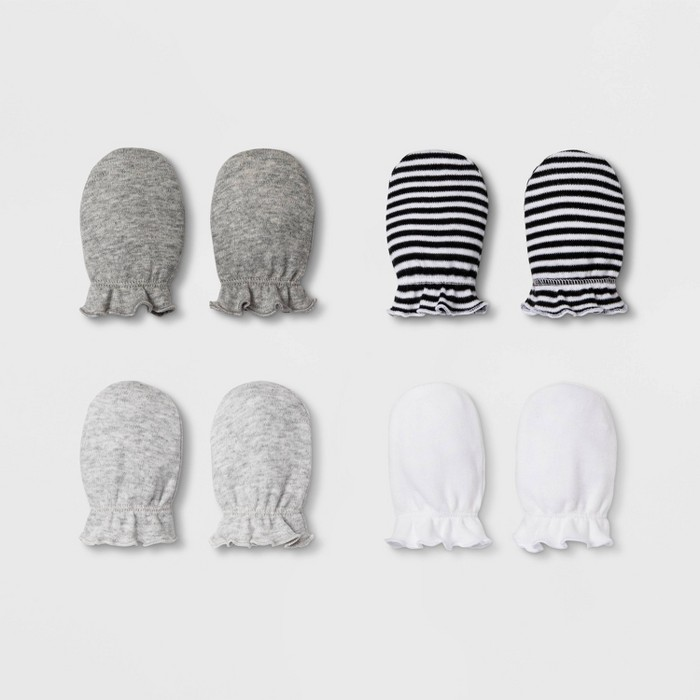 Baby 4pk Mittens - Cloud Island™ White/Black One Size - image 1 of 1
