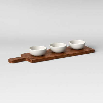 4pc Wood Cutting Board and Ceramic Bowl Set - Threshold™