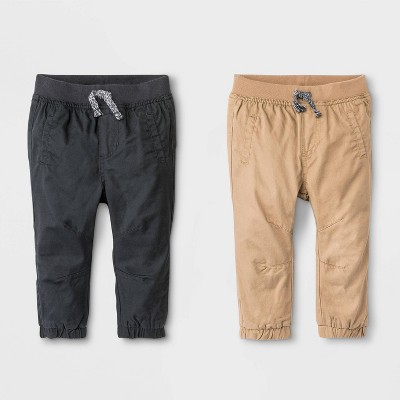 Baby Boys' 2pk Woven Chino Pull-On Pants - Cat & Jack™ Brown/Black 6-9M