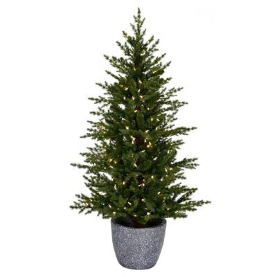 "Vickerman 3.5' x 26"" Belgrade Pine Artificial Christmas Tree, Warm White Dura-lit LED Lights"