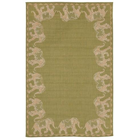 "4'10""X7'6"" Elephants Area Rug Green - Liora Manne - image 1 of 3"