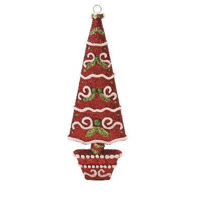 """Northlight 7"""" Red and White Glitter Drench Shatterproof Christmas Tree Ornament"""