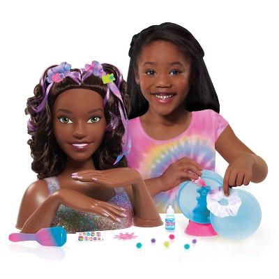 Barbie Tie-Dye Deluxe Styling Head Brunette Hair with Purple Highlights