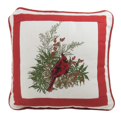 "Home Decor 10.0"" Cardinal Embroidered Pillow Red Bird Christmas  -  Decorative Pillow"