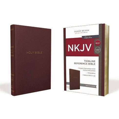 NKJV, Thinline Reference Bible, Leather-Look, Burgundy, Red Letter Edition, Comfort Print - (Paperback) - image 1 of 1
