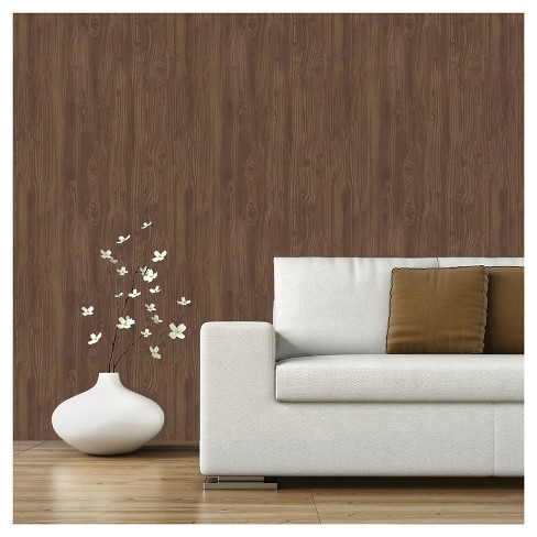 Devine Color Textured Driftwood Peel & Stick Wallpaper - Cocoa - image 1 of 10