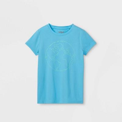 Girls' Earth Graphic Short Sleeve T-Shirt - Cat & Jack™ Sea Blue