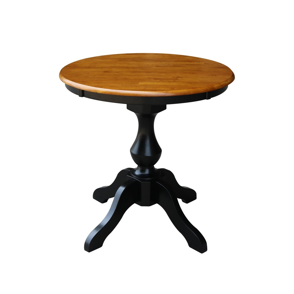 "Image of ""30"""" Lucy Round Top Pedestal Table Dining Height Black/Cherry - International Concepts"""