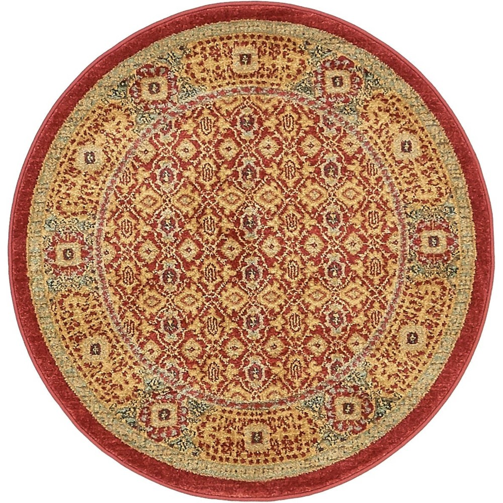3 39 3 34 Round Jefferson Palace Rug Red Light Blue Unique Loom