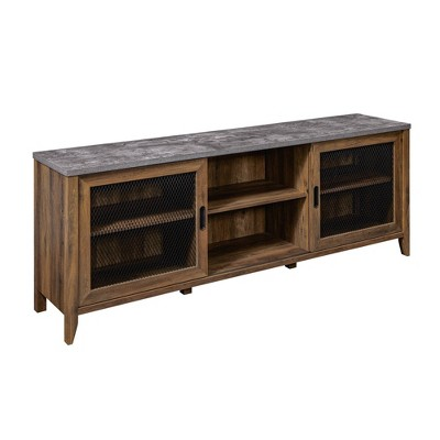 """Industrial Farmhouse Sliding Mesh Door Console TV Stand for TVs up to 80"""" - Saracina Home"""
