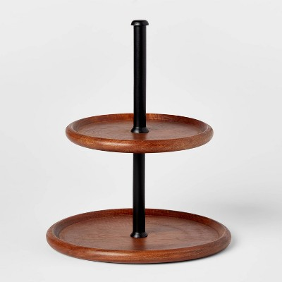 Wood and Iron 2-Tier Serving Stand - Threshold™