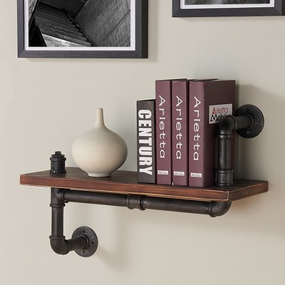 Montana Industrial Pine Wood Floating Wall Shelf 24  in Gray and Walnut Finish - Armen Living