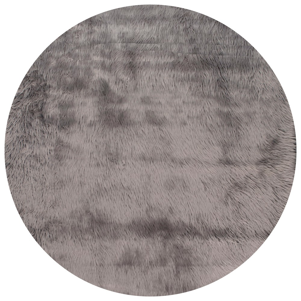 Gray Solid Loomed Round Area Rug 5' - nuLOOM