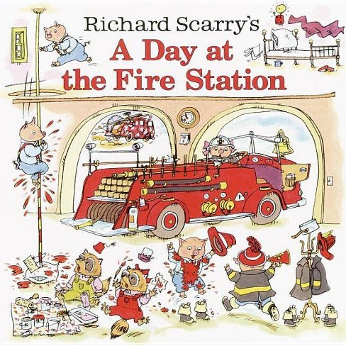 Richard Scarry's a Day at the Fire Station - (Richard Scarrys) (Hardcover) - image 1 of 1