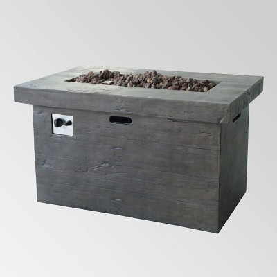Custer Outdoor Rectangular Fire Pit - Brown - Christopher Knight Home