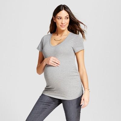 Maternity Shirred V-Neck T-Shirt - Isabel Maternity™ by Ingrid & Isabel® Medium Heather Gray XS
