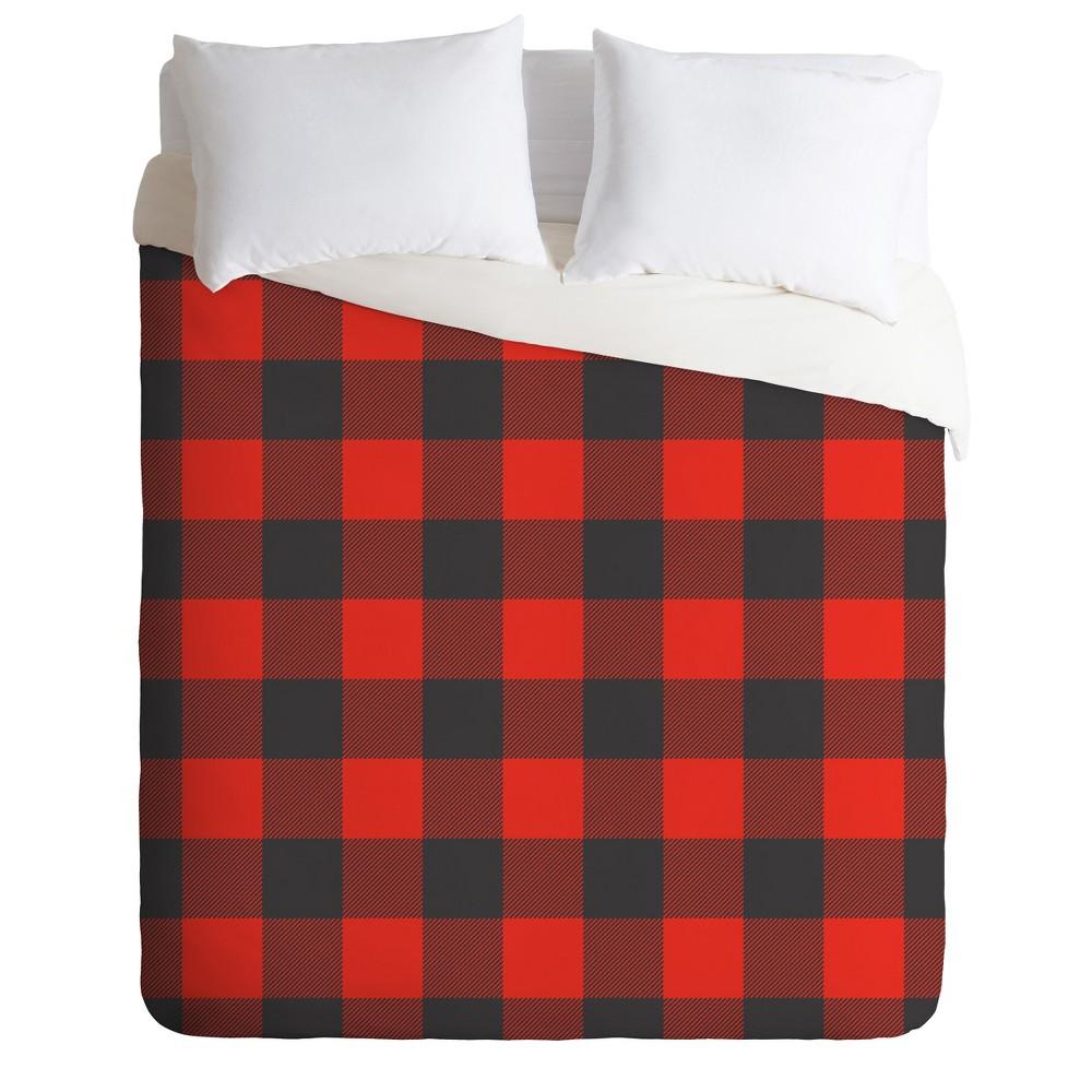 Red Geo Zoe Wodarz Winter Cabin Plaid Duvet Cover Set (Queen) - Deny Designs