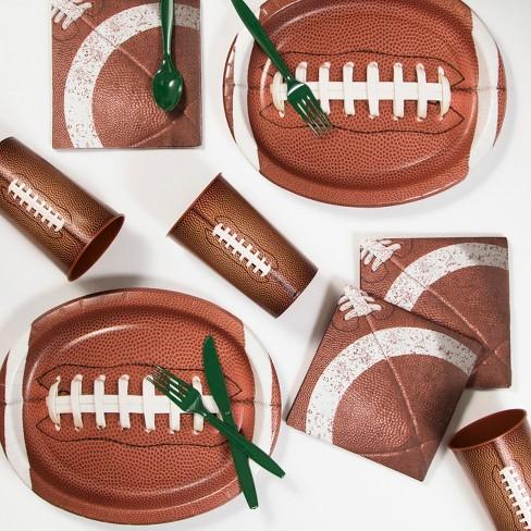 a66e78015c30 58pk Football Party Supplies Kit Disposable Dinnerware Set Brown ...