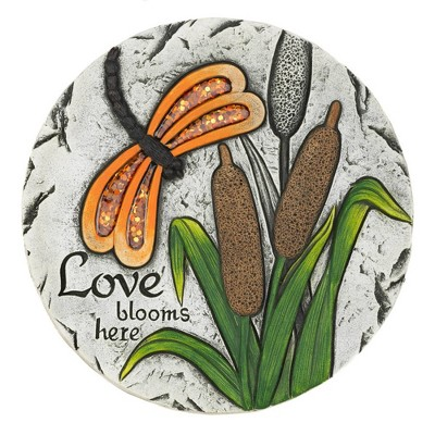 """Cement """"Love Blooms Here"""" Stepping Stone - Zingz & Thingz"""