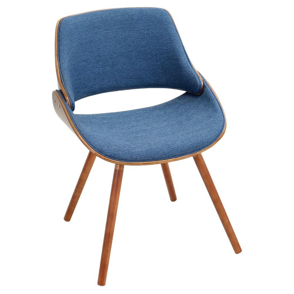 Fabrizzi Mid Century Modern Chair - Walnut Wood/Blue Fabric - LumiSource