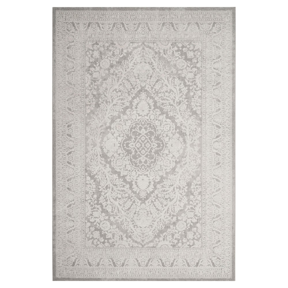 Light Gray/Cream Medallion Loomed Accent Rug 4'X6' - Safavieh, Light Gray/Ivory