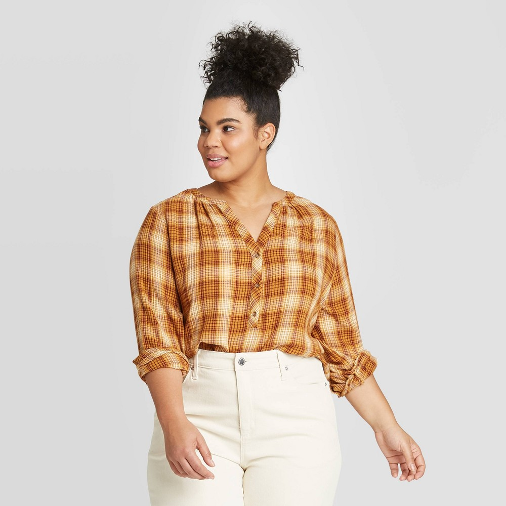 Women's Plus Size Plaid Long Sleeve V-Neck Button-Front Tunic - Universal Thread Yellow 3X, Women's, Size: 3XL was $22.99 now $16.09 (30.0% off)