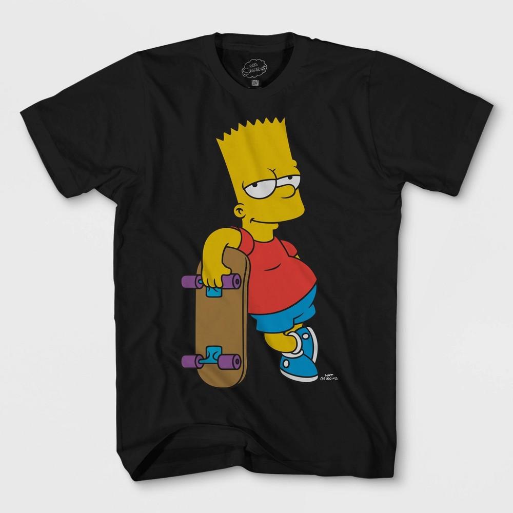 Boys' The Simpsons Bart Skateboard Short Sleeve T-Shirt - Black S