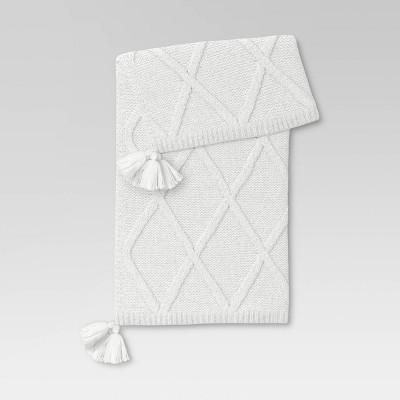 Chunky Diamond Knit Throw Blanket White - Threshold™