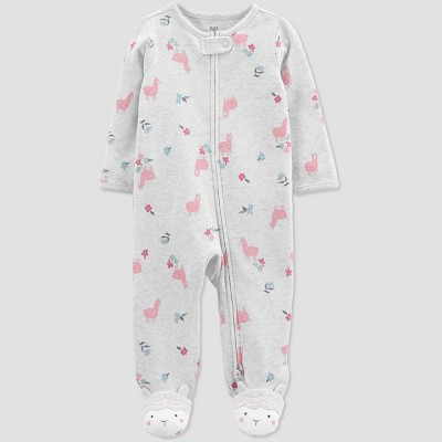 Baby Girls' Llama Interlock Footed Pajama - Just One You® made by carter's Pink 3M