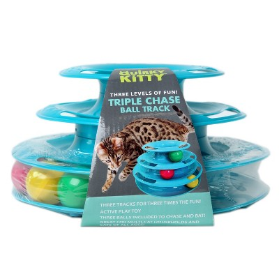 Quirky Kitty Three Layer Ball Track Cat Toy - Blue