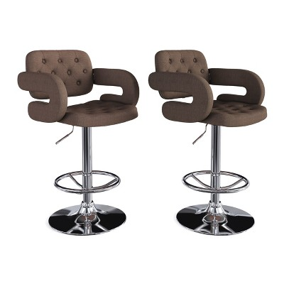 Set of 2 Adjustable Tufted Fabric Barstool with Armrests - CorLiving