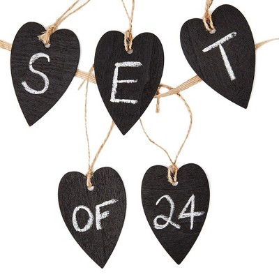 Genie Crafts 24-Piece Mini Wooden Heart Chalkboard Tag Labels & String for Gifts, Arts and Crafts, 2 x 3 Inches