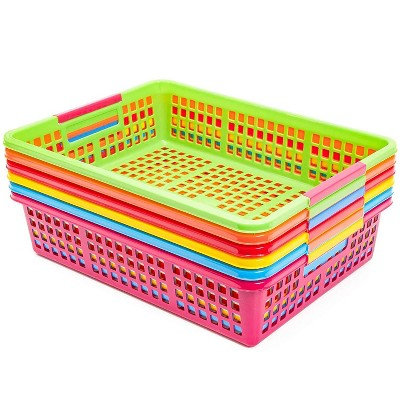 6 Pack 6 Colors Paper Pen & Pencil Storage Baskets Trays for Classroom Organizer Drawers Shelves Closet and Desk