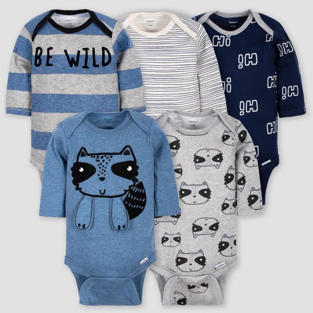 Gerber Baby Boys' 5pk Long Sleeve Raccoon Bodysuits - Blue/Gray Newborn