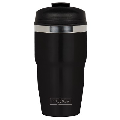 MyBevi 12oz Retro Stainless Steel Coffee Travel Mug with Snap Fit Lid Black