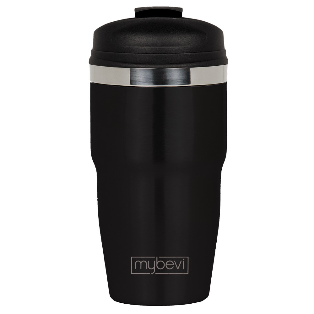 Image of MyBevi 12oz Retro Stainless Steel Coffee Travel Mug with Snap Fit Lid Black