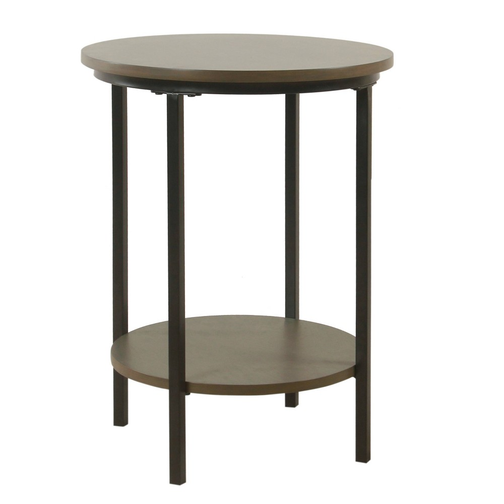 Large Round Wood Accent Table with Shelf Storage Washed Gray - HomePop was $99.99 now $74.99 (25.0% off)