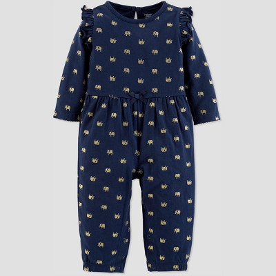 Baby Girls' 1pc Glitter Jumpsuit - Just One You® made by carter's Navy 3M