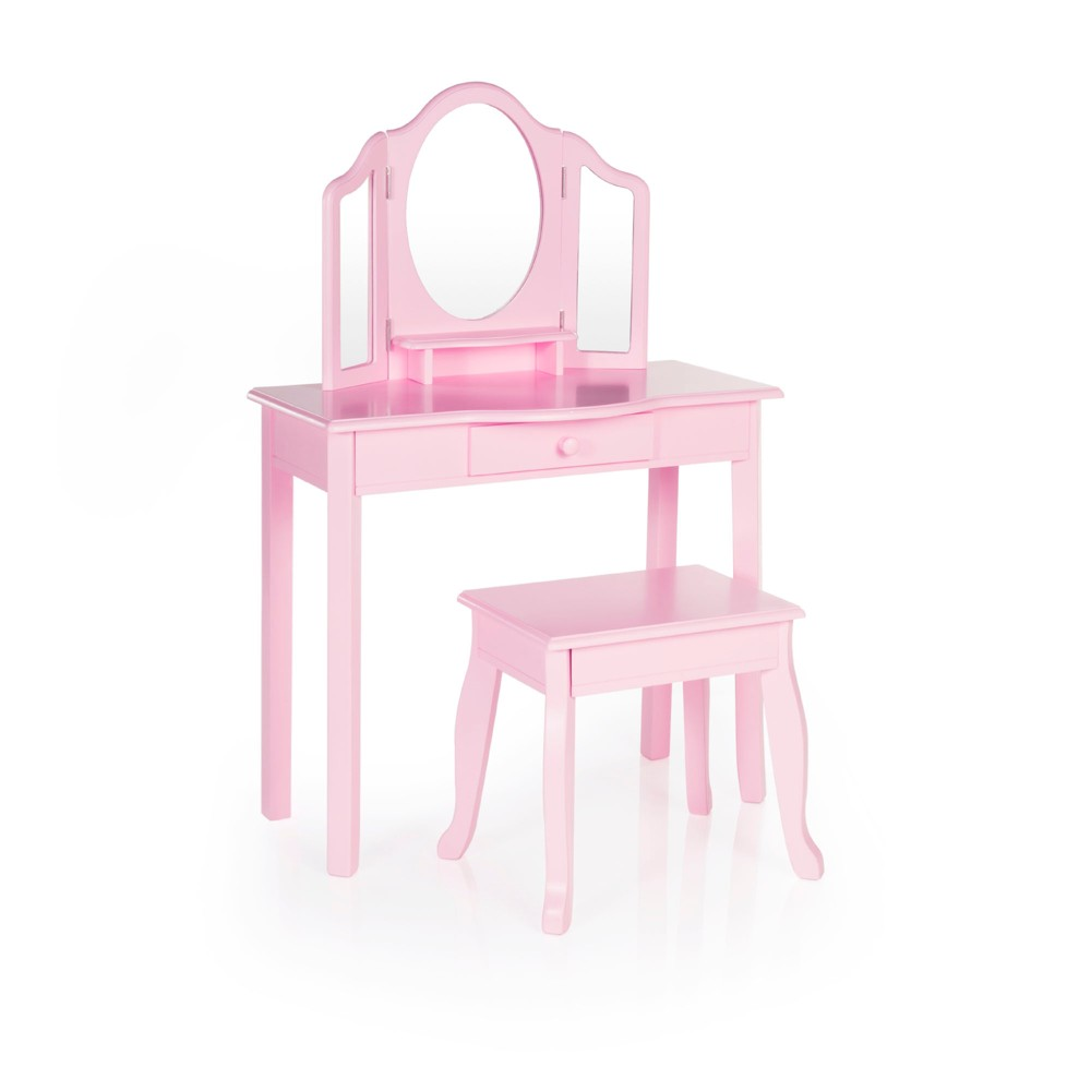 Image of Classic Vanity and Stool Pink - Guidecraft, Green
