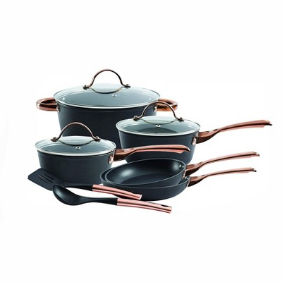 Oster Allsberg Non Stick Aluminum 10 Piece Cookware Set with Pots, Pans, Lids, Stainless Steel Rose Gold Handles, Matte Black