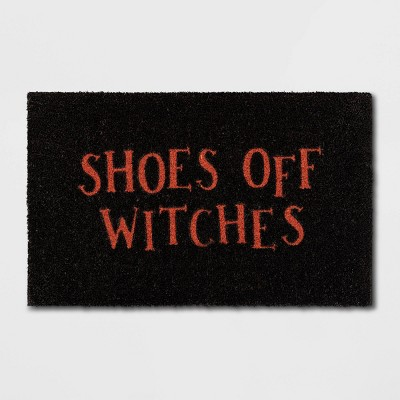"""1'6""""x2'6"""" """"Shoes Off Witches"""" Doormat Black - Hyde & EEK! Boutique™"""