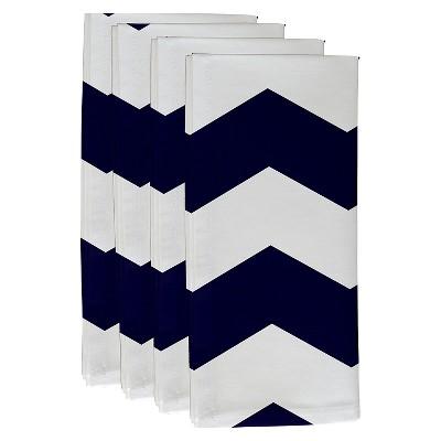 Navy Geometric Throw Napkin Set (19 X19 )- E By Design
