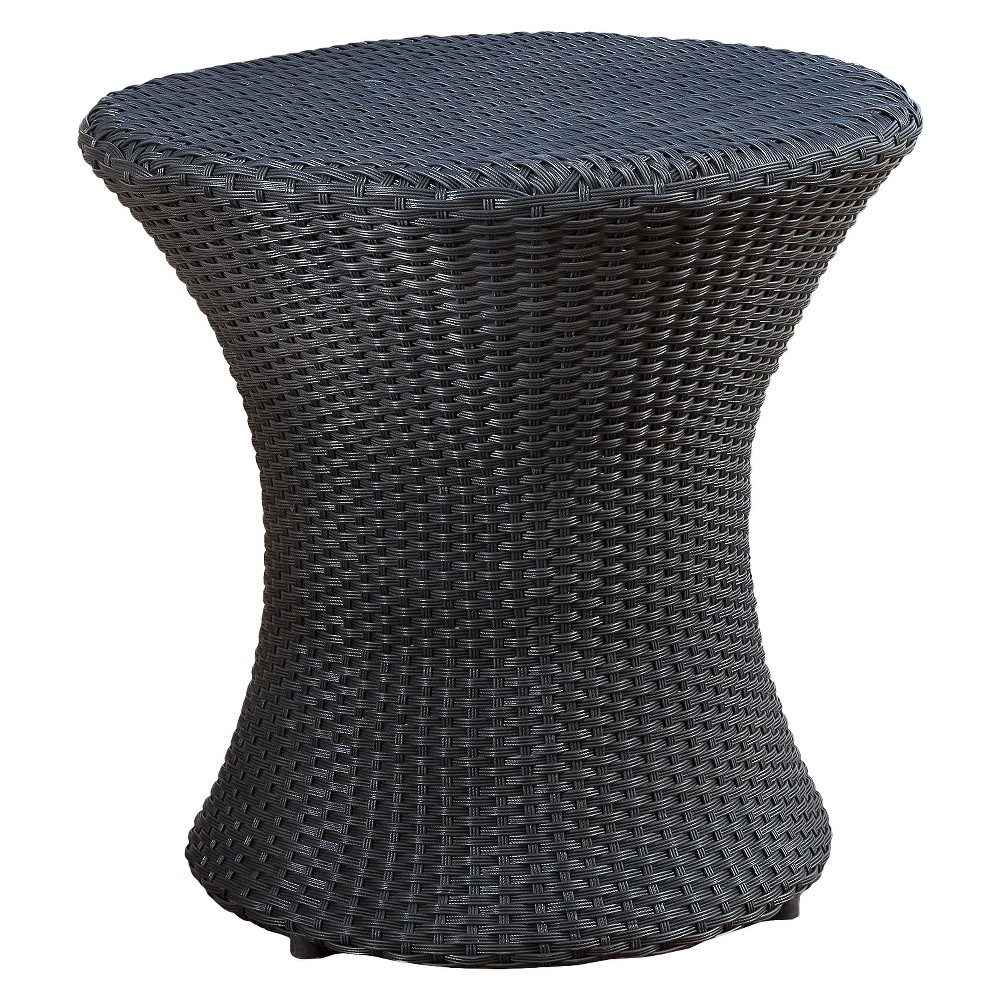 Adriana Wicker Patio Accent Table Black Christopher Knight Home