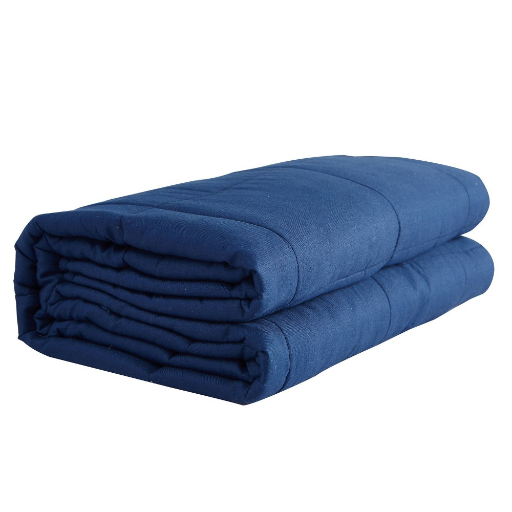 "Image of ""48"""" x 72"""" 20lbs Solid Cotton Weighted Bed Blanket Navy - Pur Serenity"""