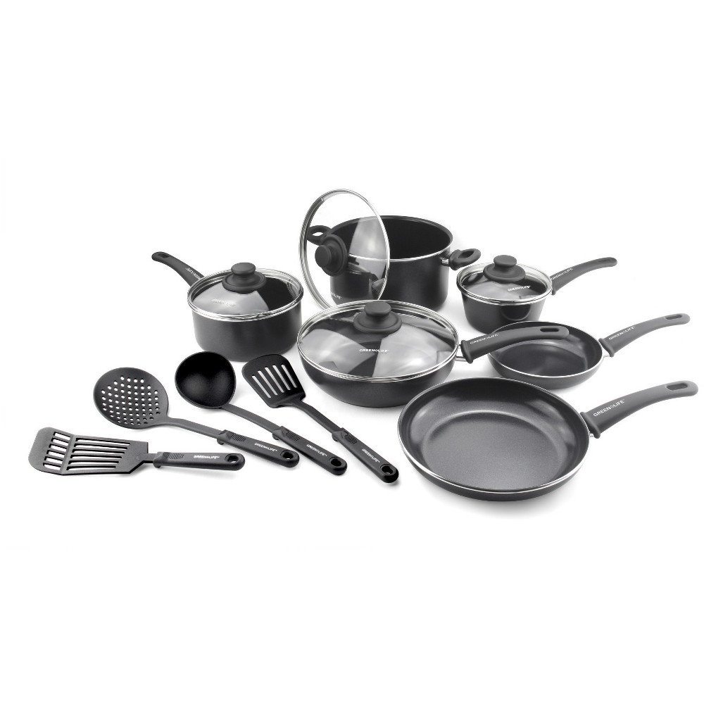 Image of GreenLife Soft Grip Diamond Reinforced 14pc Ceramic Non-Stick Cookware Set